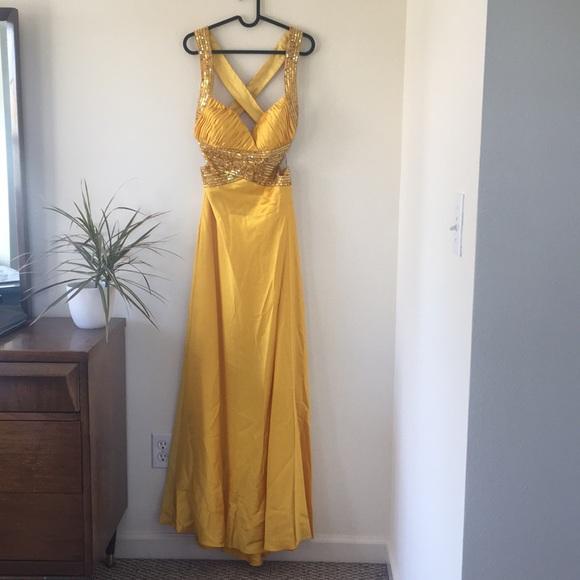 David's Bridal Dresses & Skirts - Gold sequin formal dress from David Bridal